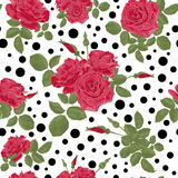 Seamless flowers of red roses pattern with dots, circles backgro. Seamless flowers of red roses pattern with black dots, circles on white background Royalty Free Stock Photos