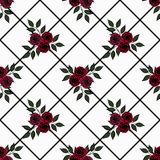 Seamless flowers of red roses pattern on white background Stock Images