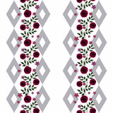 Seamless flowers from red roses pattern on white  background Royalty Free Stock Image