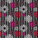 Seamless flowers retro pattern with stripes Stock Images