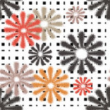 Seamless flowers retro pattern with stripes Royalty Free Stock Photography