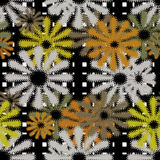 Seamless flowers retro pattern with stripes Stock Image
