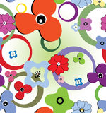 Seamless flowers and rings. Seamless colourful pattern with flowers and rings Stock Image