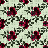 Seamless flowers from rose pattern on green specks in the background. Seamless flowers from red rose pattern on green specks in the background Stock Photos