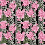 Seamless flowers roses pattern on black lacy Royalty Free Stock Image