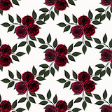 Seamless flowers of  roses pattern on white background Stock Images
