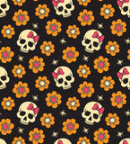 Seamless with flowers and skulls Stock Images