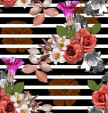Seamless flowers with striped; roses with lily and zinnia on black background, mixed vintage stock illustration