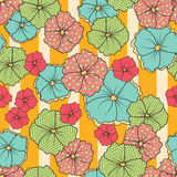 Seamless Flowers And Stripes Pattern Stock Photos