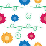 Seamless Flowers with Vine Pattern Royalty Free Stock Photo