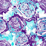 Seamless flowers wallpaper pattern. Vector background in blue. EPS10. Stock Image
