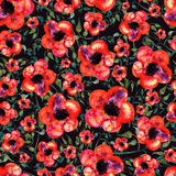 Seamless flowers watercolor ornament Green color and red flower Royalty Free Stock Photo