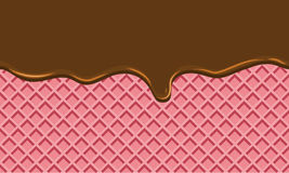 Seamless Flowing chocolate on wafer texture sweet food background Royalty Free Stock Photo