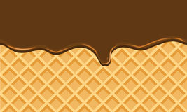 Seamless Flowing chocolate on wafer texture sweet food background Stock Photo