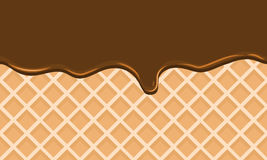 Seamless Flowing chocolate on wafer texture sweet food background Stock Photography