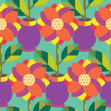 Seamless Flowre and Vase Pattern. Vector Colour Background Stock Photos