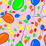 Seamless flying balloons illustrations background abstract, hand drawn. Festive, design, anniversary & cartoon. Seamless flying balloons illustrations Stock Photography