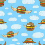 Seamless flying hamburgers Stock Photography