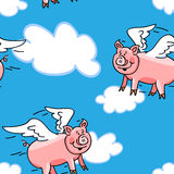 Seamless flying pig pattern. Seamless cute and fun lying pig cartoon characters with wings to represent the when pigs fly saying, great kid wallpaper or fabric Royalty Free Stock Image