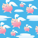 Seamless Flying Pigs. A seamless pattern of pigs with wings flying through the sky Royalty Free Stock Images
