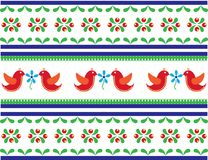 Seamless folk art pattern with birds and flowers vector illustration