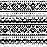 Seamless folk art pattern, Lapland traditional design, Sami vector seamless background Scandinavian, Nordic wallpaper. Retro black and white winter belt patterns Royalty Free Stock Photography