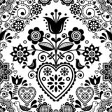 Seamless folk art vector pattern with birds and flowers, Scandinavian or Nordic black and white repetitive floral design stock photos