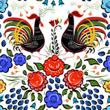 Seamless Folk background.Colorful flowers and leafs with cocks o. N white background. Vector illustration Royalty Free Stock Photography
