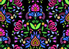 Seamless  folk floral pattern. Seamless floral folk pattern. slavic european style, bright colors, dark background. decorative flowers and ornaments, symmetric Royalty Free Stock Image