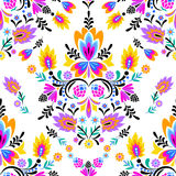 Seamless  folk pattern. Mexican, Polish wzory style, with decorative flowers and swirls.  cut out elements in symmetric layout Stock Photo