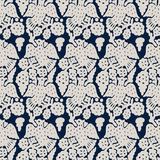 Seamless folk pattern. Traditional block printed ornament, handmade Russian motif with ecru birds and flowers navy blue on background. Textile print Royalty Free Stock Photography