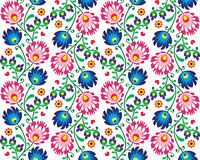 Seamless folk Polish pattern - wzor lowicki. Repetitive colorful floral background - folk art print from Poland stock illustration