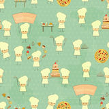 Seamless Food Background with Fun Chefs Royalty Free Stock Images
