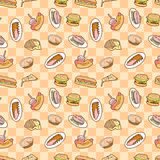 Seamless food pattern Stock Photos