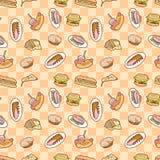 Seamless food pattern Stock Photos