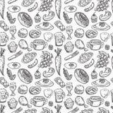 Seamless Food Pattern Stock Photography