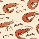 Seamless food pattern with hand drawn shrimps on a beige. Seafood background, seamless food pattern with hand drawn shrimps on a beige royalty free illustration