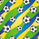 Seamless football pattern, vector background. Seamless football pattern against the colors of the Brazilian flag. Vector background EPS 10. Grunge effect can be stock illustration