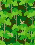 Seamless forest. Camouflage seamless pattern with birds Stock Photography