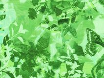 Seamless forest foliage background with flying butterflies Stock Photo