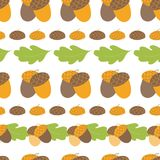 Seamless forest pattern with acorns and oak autumn leaves. Fall vector background. Seamless forest pattern with acorns oak leaves. Vector illustration for Royalty Free Illustration