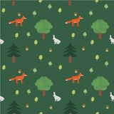 Seamless forest pattern. With animals and trees for kids Royalty Free Stock Photo