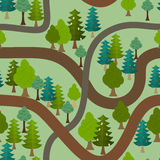 Seamless forest pattern. Cartoon trails and trees background Royalty Free Stock Photo