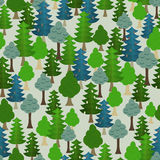 Seamless forest pattern. Cartoon tree. Royalty Free Stock Photography