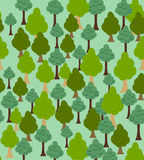 Seamless forest pattern. Cartoon tree background Stock Images