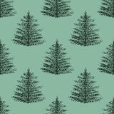 Seamless forest pattern, green with black hand drawn pine-trees. Seamless forest pattern, green with black hand drawn with dots pine-trees, fir-trees Royalty Free Stock Images