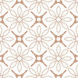 Seamless of four angle stars and dashed line flowers Royalty Free Stock Photography