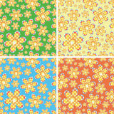 Seamless four-color flowers. Four-color floral and geometric patterns (print, swatches, seamless background, wallpaper, or repeat pattern repeat Stock Images