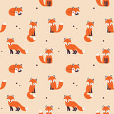 Seamless fox pattern Stock Photos