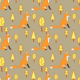 Seamless Fox pattern Stock Photography